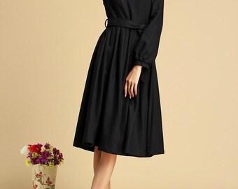 Black dress, winter wool dress,  midi dress, pleated dress, tie belt dress, handmade dress, warm dress, womens dresses, plus size  (321)
