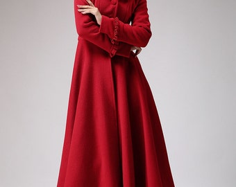 Red long wool coat  - winter hooded coat  -  fit and flare style outwear with Pleated Tab Details on Cuffs & Hood (702)