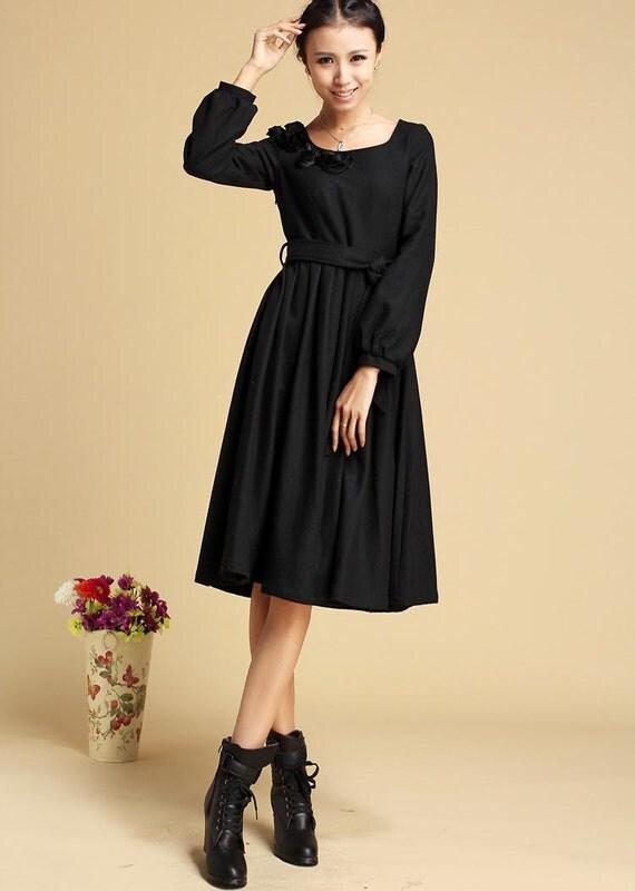 Items similar to Black dress, winter wool dress, midi ...