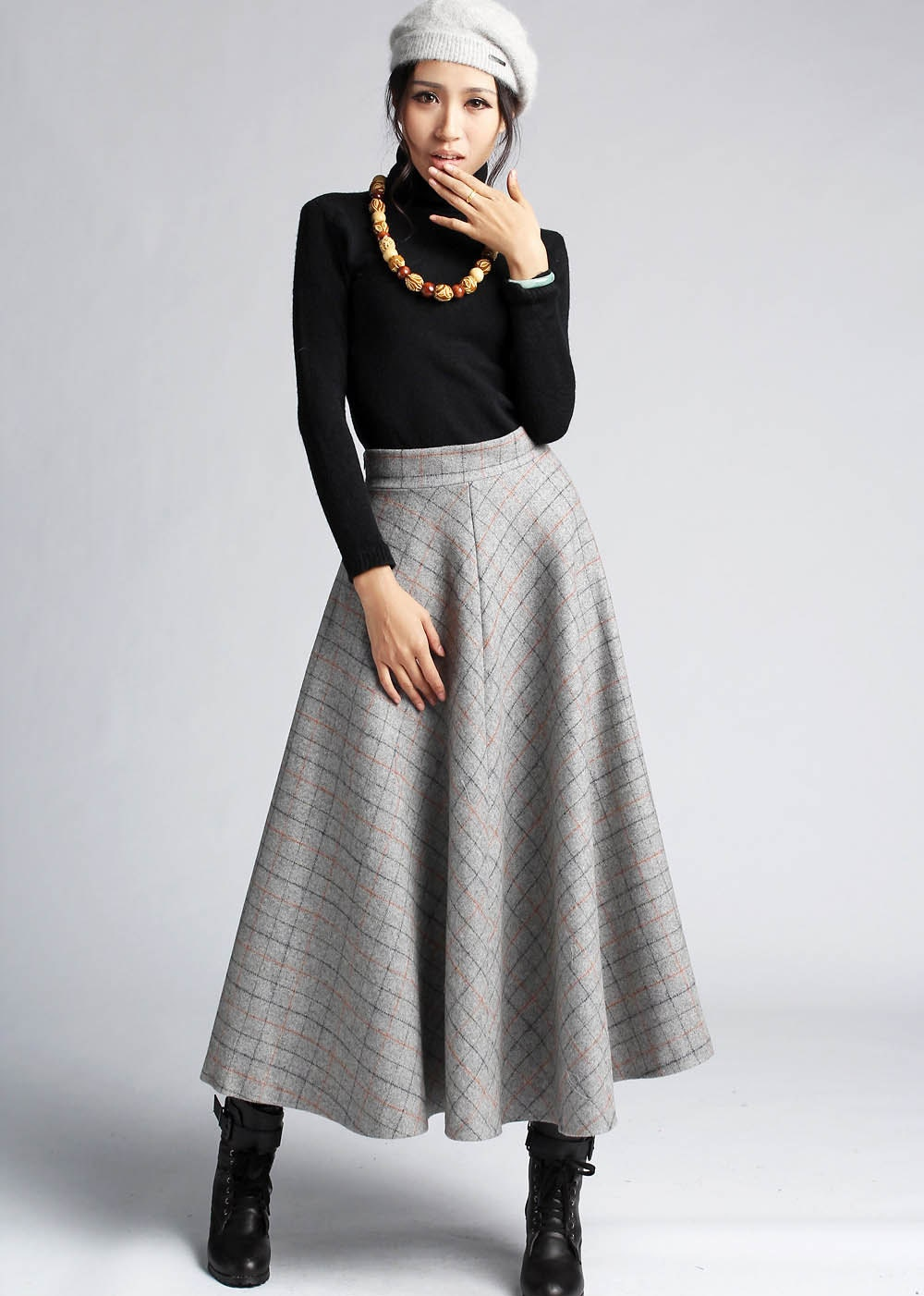 gray plaid wool skirt maxi classic style winter by