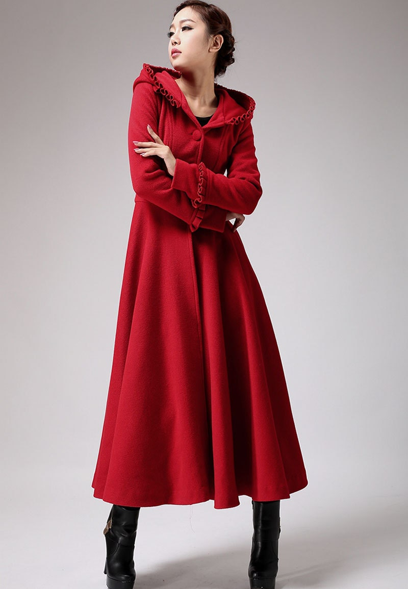 Red long wool coat winter hooded coat fit and flare