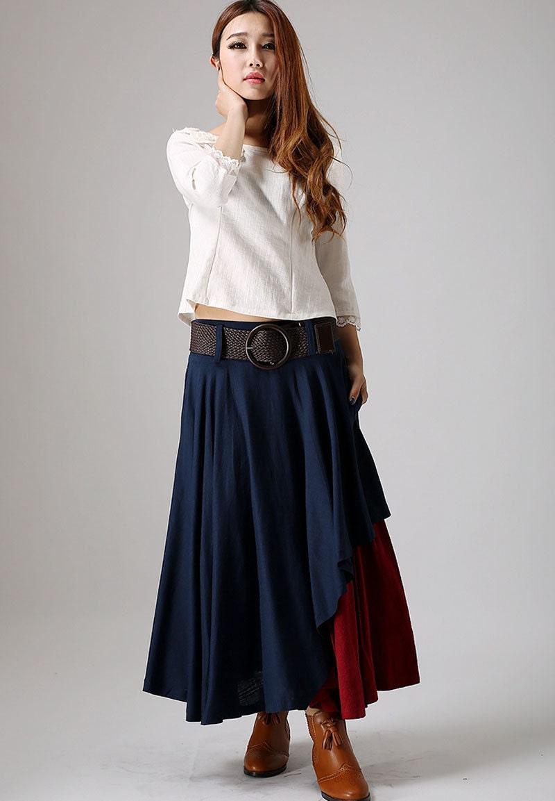 Long Skirt Boho Skirts Maxi Skirts Maxi Linen Skirt Boho