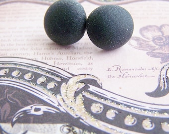 Jet Black Sea Glass stud earrings - a perfect gift - Summer - bridesmaids - weddings - sale