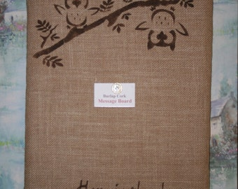 Burlap Cork Board - Message Board - Bulletin Board - Owl Decor - Burlap Message Board - Burlap Decor - Owl Decor Sign - Message Corkboard