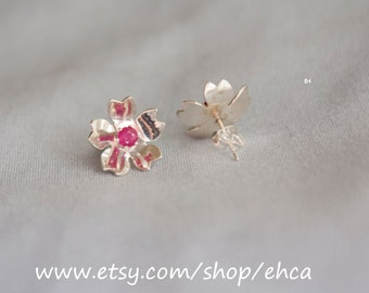 Handmade Little Cherry Blossom Sterling Silver Post Earrings with 3.2mm Rubies
