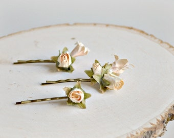 Ivory flower hair pins, bridal hair clips, victorian bobby pins, wedding hair accessories - Attic roses