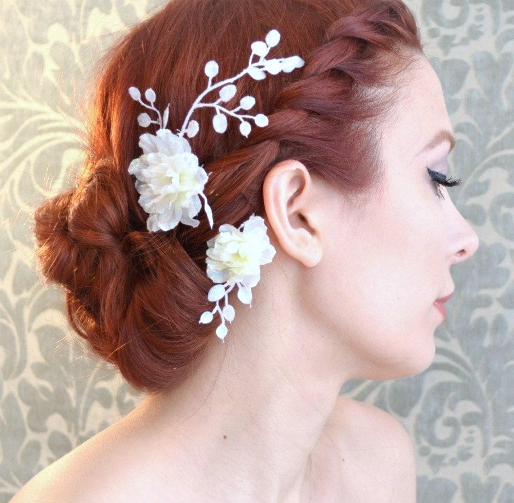 Flower Hair Pins For Wedding: Wedding Clip Set White Flower Hair Pins Floral Bobby Pins
