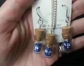 Origami TARDIS in tiny glass bottle earrings and pendant set