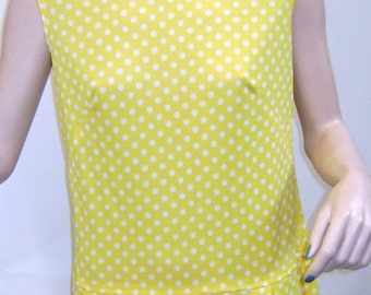 1960s Yellow Polka Dot Breezy Summer Dress