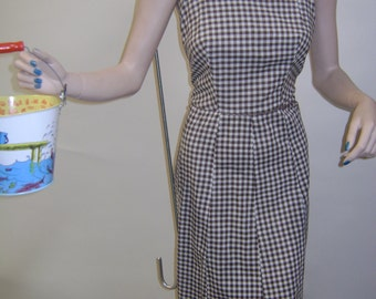 1950s Brown and White Gingham Halter Dress
