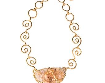 Citrine Spiral link Necklace