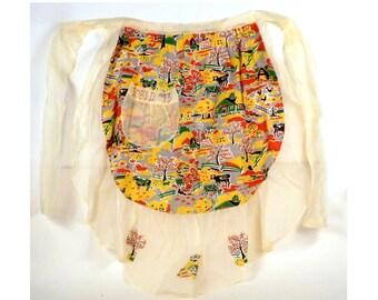 Vintage retro half apron - Apron for baking Apron with pocket  Accessories 1970 apron Shear fabric apron Vintage housewares Hostess gift IN