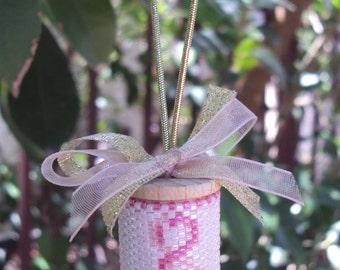Breast Cancer Pink Ribbon Peyote Beaded Spool Ornament Kit