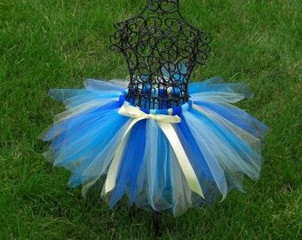 Girls Blue tutu- Blue and Yellow tutu- ALOHA TUTU- Blue birthday tutu- Flower girl tutu- 2t 3t 4t 5t -- 3 6 9 12 18 24 months--