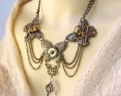 Steampunk Tribal Crystal and Charm Layered Choker Necklace