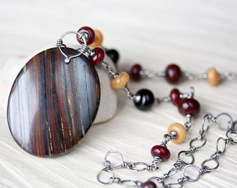 Dark Red and Black Stone Pendant Necklace, Large Oval Tiger Iron, 18-20 '' adjustable sterling silver links chain, artisan lampwork necklace