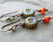 Periwinkle Blue Carnelian Copper Earrings Dark Orange Lime Green Glass Wheel Long Dangle Artisan Jewelry