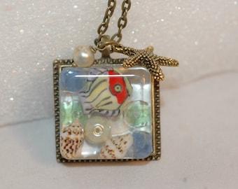 Handmade One of a Kind Ocean Scene Resin Pendant Necklace