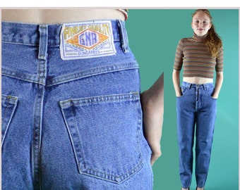 80s GENERRA High Waist Jeans Womens Vintage Blue Jeans Taper Leg Skinny Ankle Exposed Button Fly High Waisted Jeans 27 Waist