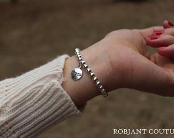 Robjant Couture Shiny Silver Beaded Bracelet - Simple Silver Bracelet.