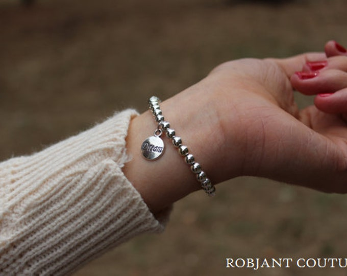 Robjant Couture Shiny Silver Beaded Bracelet - Simple Silver Bracelet.