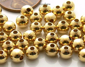 Gold Plated Round Smooth Metal Brass Beads 5mm: 40