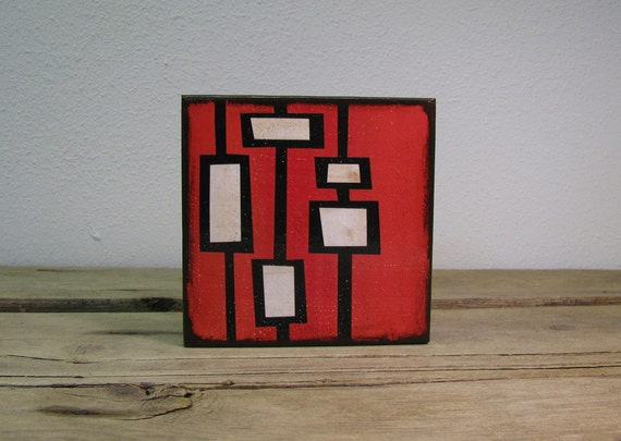 Mid Century Modern Atomic Abstract Art Block -- MatchBlox 1667