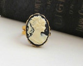 Victorian Cameo Ring Lady Cameo Ring Silhoutte Jewelry Cameo Jewelry Black Cameo Cocktail Ring  Gift for Her