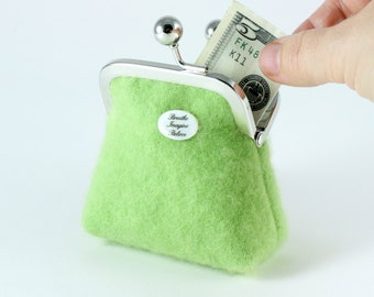 Apple green cashmere coin purse...Breathe Imagine Believe charm...exclusive floral lining...luxurious ecofriendly recycled cashmere gift