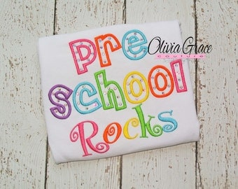 Preschool rocks, Back to School Shirt, kindergarten, 1st grade, Embroidered Shirt with rhinestones