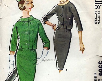 Vintage 1961 Suit Pattern...Princess Seam Three Quarter Sleeve Jacket...Pencil Skirt..McCalls 5966 Bust 31