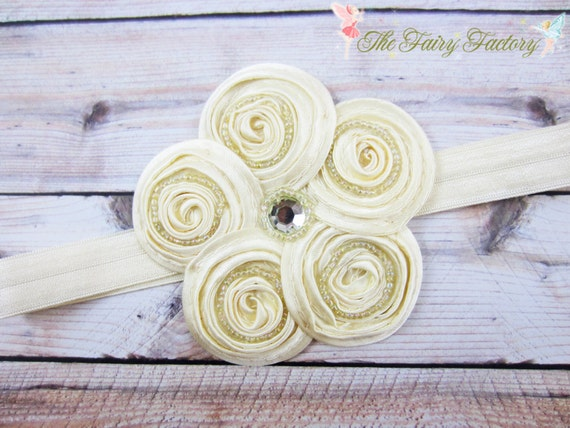 Ivory Flower Headband, Posh Creamy Ivory Beaded Satin Swirl Flower Headband or Hair Clip, Baby Toddler Child Girls  Headband