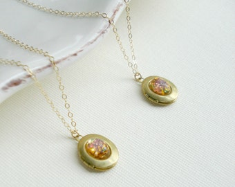 Small Vintage Oval Locket Necklace. Fire Opal Gold Necklace, Locket Pendant, Gold Filled, Under 25