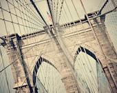 Photograph Brooklyn Bridge - urban wall art, bridge decor - Pathway - new york wall decor, neutral home decor, Brooklyn Bridge photograph