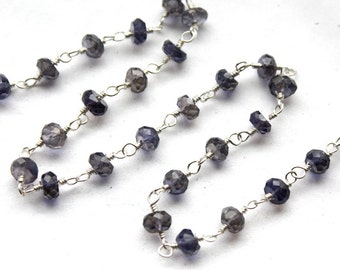 6 Feet, Hand Cut Iolite Gemstones on Sterling Silver Wire Chain // Hand Wire Wrapped Chain-S-