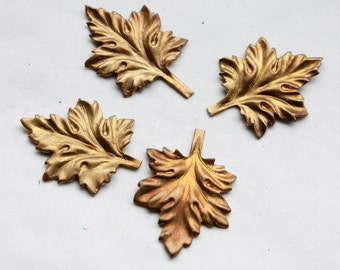 6 Vintage 1960's Brass Autumn Leaf Stampings