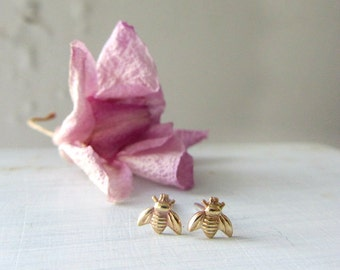 Bee earrings, Tiny gold bee stud earrings, sterling silver posts