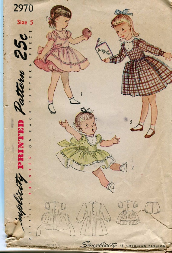 Simplicity 2970 Vintage 50s girls dress and panties pattern