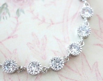 Cadence - Sparkling Cubic Zirconia Bracelet, gifts for her, sparkly bracelet, silver Bridesmaid bracelet, simple wedding jewelry, crystal