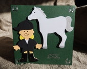 Horse birthday card horse card horse riding birthday card HAPPY BIRTHDAY card for girls show jumping card Pony club card grey pony gymkhana