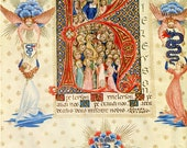 Vintage Illuminated Manuscript Print, Athanasian Creed,   God with Angels and  Saints, Letter K shape Athanasian Creed