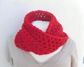 Bright Red Scarf * Crochet Wool Infinity * Pequenita by Tejidos on Etsy * Long Fall Circle Scarf * Ready to Ship