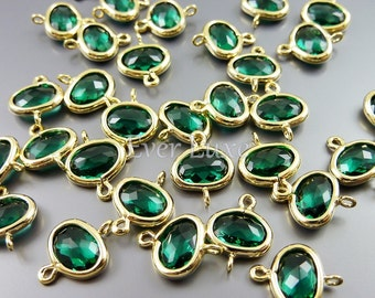 2 Small 6mm emerald green abstract oval connectors, bezel glass stone connectors, findings 5119G-EM-6 (bright gold, emerald, 6mm, 2 pieces)