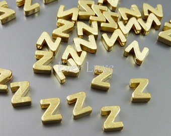 4 DIY alphabet blocks and personalized jewelry, alphabet Z letter beads in satin gold 1891-SG-Z