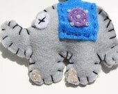 Blue Felt bead elephant keychain
