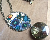 vintage tin and crystal necklace - the Gatsby Collection, a statement necklace, upcycled jewelry, recycled tin