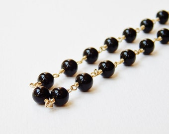 Black Onyx Long Neclace - Gold Filled Beaded Necklace Rosary Necklace Beadwork Necklace Opera Lenght