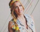 Graphic Yellow and Teal Floral Print Head Wrap