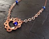 Handmade Copper Sacred Heart and Lapis Lazuli Necklace