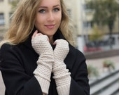 long fingerless in high quality blended merino wool and cashmere color light camel - iveta67